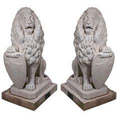 Carrara Marble Armorial Lions 1