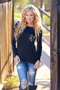 Black Long Sleeve Top with Leopard Print Pocket and Back e593bcd0c