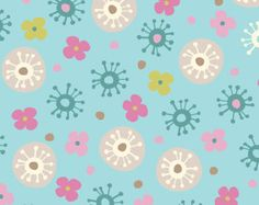 SALE Anthology Fabric - Blooming Lovely Collection - Stylized Florals - Light Aqua
