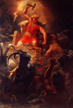 Thor -The Thunder God Painting by Mårten Eskil Winge.