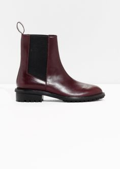 & Other Stories image 1 of Leather Chelsea Bootsin Red Bluish Dark
