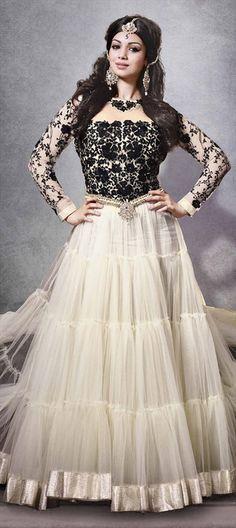 8721c219e95 Black   White Anarkali Churidar Suit   Online Shopping