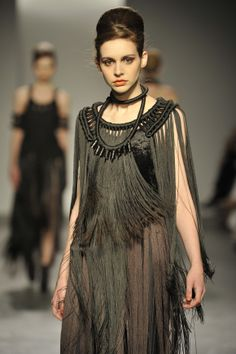 Eleanor Amoroso SS11  Hand-knotted Macrame and Fringe Cape with Fringe Skirt