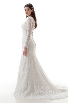 Charming Mermaid V-Neck Train Lace and Tulle Ivory Long Sleeve Zipper With Buttons Wedding Dress with Appliques LD4469 #cocomelody #weddingdress  #weddingdress2017 #2017wedding #customdresses