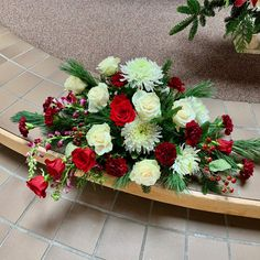 Long and low altar arrangement for a winter wedding:  red roses, white roses, white spider mums, burgundy carnations, burgundy snapdragons, and red hypericum, with white pine, fraser fir, and cedar, $200 White Roses, Red Roses, Fraser Fir, Spider Mums, Wedding Altars, Real Flowers, Carnations, Special Events, Pine