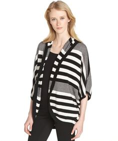 Autumn Cashmere black and white striped cashmere dolman sleeve hoodie