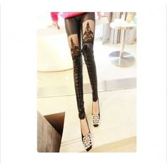 Leatherette Straps Crochet Lace Leggings for only $15.99 ,cheap Fashion Leggings - Clothing & Apparel online shopping,Leatherette Straps Crochet Lace Leggings is beautiful and the effects of modified legs.