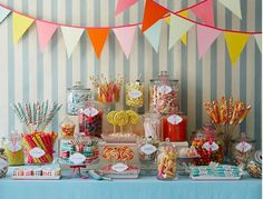 great ideas for a candy buffet blues pinks reds and beautiful yellow candies
