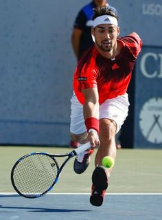 #FabioFognini #2015USOpen #tennis #Fognini Fabio Fognini, of Italy, runs to return a shot to Feliciano Lopez, of Spain, during the fourth round of the U.S. Open tennis tournament, Sunday, Sept. 6, 2015, in New York. (AP Photo/Jason DeCrow)