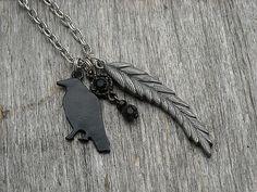 Black Raven Necklace Gothic Necklace