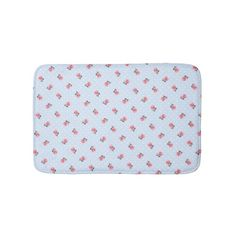 Vintage Blue Floral and Dots Bath Mats #zazzle #oudeen #decor #sweethome #bathmat