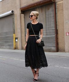 Love the retro fit and feel of a midi skirt? Keep yours breezy by opting for a version in well-ventilated lace.