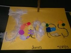Decorate names with pompoms, feathers and stickers for All About ME week (kids) September Preschool Themes, All About Me Preschool Theme, All About Me Activities, Name Activities, Fall Preschool, Teaching Activities, Preschool Activities, All About Me Eyfs, All About Me Topic