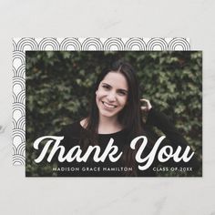 """Graduation thank you card personalized with the graduate's photo, name, and graduation year. """"Thank You"""" is displayed in a bold white script font. Designed by Late Bloom Paperie. #graduationthankyoucards #graduationthankyounotes #graduationthankyoucardswithphoto #graduationthankyoucardtemplate #zazzle #ad Graduation Thank You Cards, Graduation Year, Graduation Party Invitations, Graduation Party Decor, Graduation Announcement Template, Graduation Announcements, Thank You Card Template, Custom Thank You Cards, Graduation Cap Toppers"""