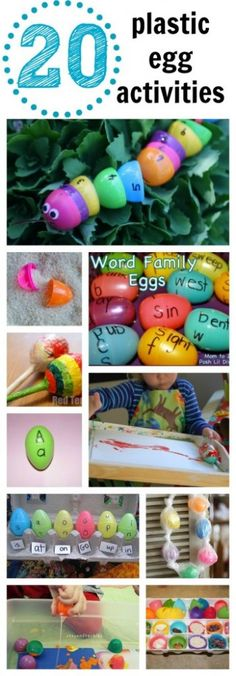 20 Plastic Egg Activities - I Can Teach My Child! 20 Plastic Egg Activities - I Can Teach My Child! Don't throw away those plastic Easter . Easter Activities, Spring Activities, Preschool Activities, Easter Games, Number Activities, Egg Crafts, Easter Crafts, Crafts For Kids, Easter Ideas