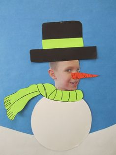 Snow people - : )  Cute way for kids to decorate their faces and make themselves into a snowman!