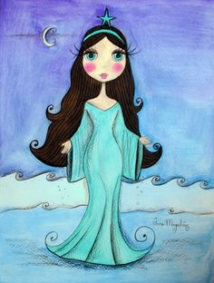 Jana Magalhães. Mexican Paintings, Mermaid Artwork, Polynesian Art, Moon Princess, Pretty Images, Cute Little Things, Mail Art, Art Images, Creative Art