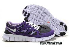 Womens Nike Free Run 2 Gray Purple White Shoes under $ 50.00