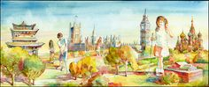 Pingyao Wall (China), British Parliament and Big Ben (UK), St. Basil Cathedral (Russia), and the National Building Museum (US) are depicted on this mural inside the Museum's #MiniGolf course. Artwork by Vladimir Zabavskiy. http://go.nbm.org/mini-golf