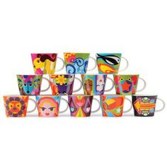 """We love that French Bull has created a 12 pc. collection of porcelain mugs representing every sign in the zodiac. Guided by cosmic colors and the ruling planets energize the bold illustrative style. Each mug comes individually packed in a bright orange box designed for a great gift to that special friend or to yourself.   White porcelain, 3.75""""D x 3""""H - 10 oz capacity.  $14"""