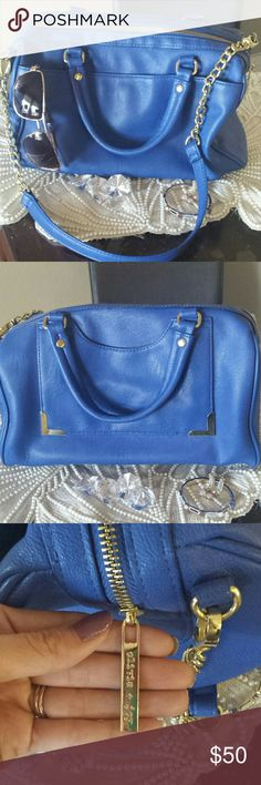 Colbalt blue handbag! Beautiful!! No scuffs or marks clean no smell dark Grey interior with gold metal chain.  Medium size Olivia + Joy Bags Shoulder Bags