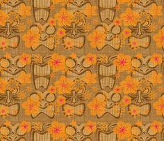 Vintage Tiki - coconut custom fabric by thecalvarium for sale on Spoonflower Vintage Tiki, Vintage Hawaiian, Hawaiian Luau, Tiki Art, Tiki Tiki, Theme Background, Tiki Room, Modern Graphic Design, Outdoor Fabric