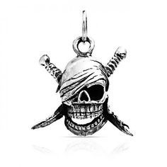 Bling Jewelry Pirate Skull Sword Crossbones Pendant 925 Sterling Silver