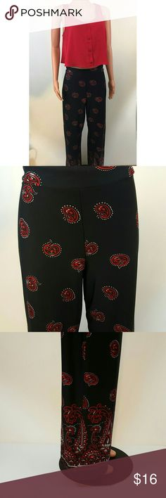 Ashley stewart Palacios pants These paisley printed pants are nice and comfy. They are made from a stretchy material and are great for someone with curvy hips and long legs they are size 12 plus size Ashley Stewart Pants Wide Leg