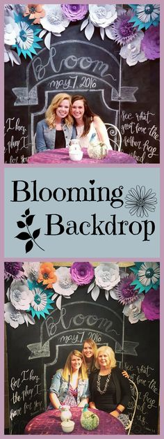 Beautiful paper flower backdrop attached to a chalkboard surface. Beautiful! by A Paper Event