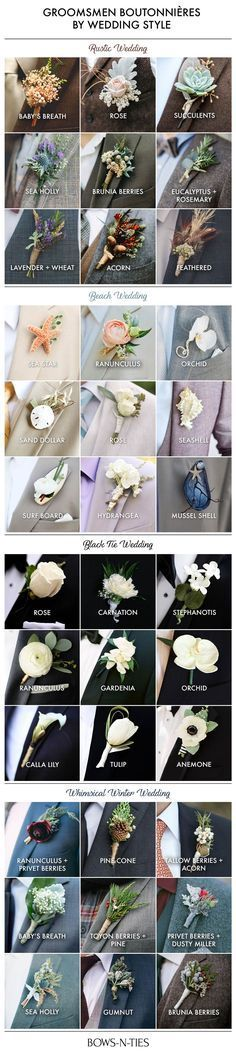 Here's an amazing guide to boutonnieres that not only lists the most popular and unique options but also breaks them down by wedding theme.
