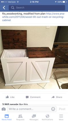 Double Bin Trash and Recycling Bin Do It Yourself Home Projects from Ana White I would like this for the laundry room hamper. Trash And Recycling Bin, Trash Bins, Recycling Storage, Indoor Recycling Bins, Recycling Station, Recycling Bins For Kitchen, Hide Trash Cans, Plastic Recycling, Home Organization