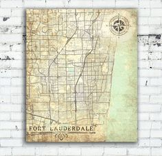 FORT LAUDERDALE Canvas Print FL Florida Vintage map Florida wall Art Poster City…