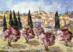 """Gordes au Printemps (Ref/GIR017) by Philippe Giraudo - Reproduction 70 x 50 cm (19.75"""" x 27.60"""") - $ 24.99 - PROVENCE Luxury Reproduction, Philippe, French Artists, Provence, Painting, Spring, Painting Art, Paintings, Painted Canvas"""
