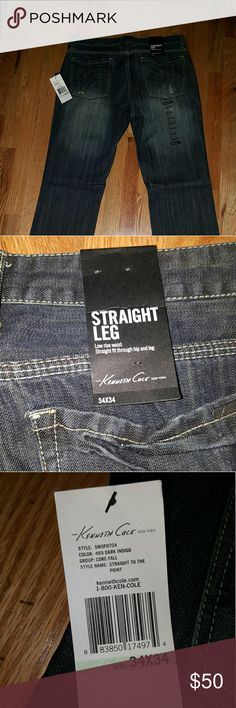 """Kenneth Cole Jeans 34"""" x 34"""" straight leg jeans brand new Kenneth Cole Jeans Straight"""