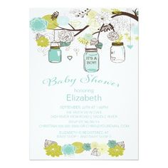 """Modern & trendy mason jar baby shower invitation featuring a tree branch with pretty blue, chartreuse green & brown floral flowers and popular rustic hanging mason jars. One jar has """"it's a boy"""" printed on it. Visit our shop to view our beautiful selection of mason jar invitations for a girls baby shower, boys baby shower or gender neutral baby shower."""