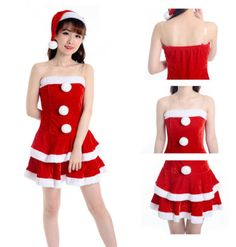 22238e948a75b1 Women Miss Santa Christmas Costume Fancy Dress Hat Xmas Office Party Outfit  for sale online | eBay