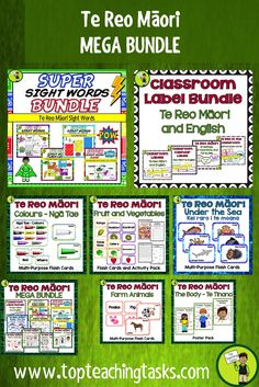 Great te reo maori resources for kids. This discounted bundle includes a twelve discounted (over 30% off) resources to highlight and teach te reo Māori kupu (words) in the classroom.  Great Maori Language Week Activities. Enjoy this te reo Maori resource in your classroom.  #maorilanguage #tereo #tereoactivities #maori #tereomaori