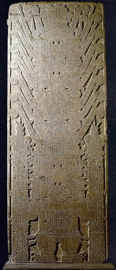 The Raimondi stela, Chavin de Huantar. It bears a remarkably sophisticated carving of a staff god, which is also visible if the statue is inverted. This stela could not have been made with stone tools or copper chisels!18
