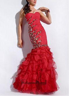 Amazing Chiffon & Charmeuse Mermaid Strapless Ruffled Fit and Flare Prom Dress