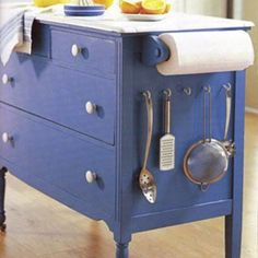 Make a kitchen island from an old dresser.