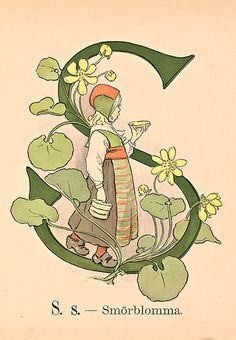 Illustration by Ottilia Adelborg (1855-1936), S like 'Smörblomma', watercolor. #Swedish_ Artist