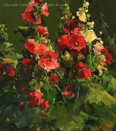 Hollyhocks by Kathryn Stats ~ 35 x 18 Art Floral, Still Life Flowers, Painting Still Life, Hollyhock, Wow Art, Beautiful Paintings, Painting Inspiration, Garden Art, Flower Art