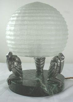 art deco maribou lamp