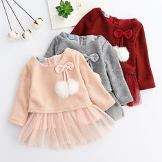 Autumn Winter Baby girls clothes long sleeve princess Ball of yarn Kids Clothes Children Party princess dresses