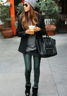 Cute green skinnies, layered knots and wedge sneakers winter outfit