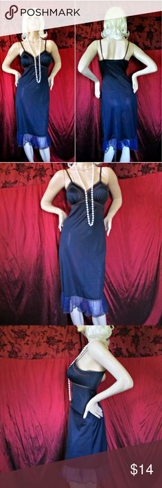 """Glam Vintage '50s Black Slip Blue Chiffon Ruffle Glam Vintage '50s Black Slip Blue Chiffon Ruffle Hem Brown Lace Detail Sz S 4  There are no tags.  Fits like an S 4-6 Meaurements: Bust: 34"""" Waist: 28"""" Hips: 36"""" Length: Approx. 42"""" Feels like nylon with chiffon and lace trim. Condition: Good vintage.  A run toward bottom of hemline, not too noticeable. No rips. Freshly washed. Smoke-free closet. Vintage Intimates & Sleepwear Chemises & Slips"""