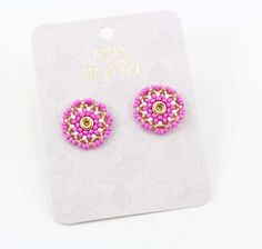 TOPOS FUCSIA - Comprar en accesorios Ave Maria Hail Mary, Hot Pink, Stud Earrings, Accessories