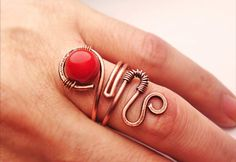 Wire Wrapped Adjustable Copper Ring with Carnelian by GearsFactory, €14.00