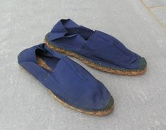 0b0800d24bf RARES ESPADRILLES HOMME Femme Bleues Occupation France 1940-1944 .vintage  Shoe - EUR 12
