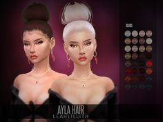 sims 4 cc // custom content big bun hairstyle // the sims resource // Leah Lillith's LeahLillith Ayla Hair Hair The Sims 4, Sims 4 Black Hair, Sims Hair, Sims 4 Teen, Sims 4 Toddler, Sims Cc, Sims 4 Mods Clothes, Sims 4 Clothing, Sims Mods